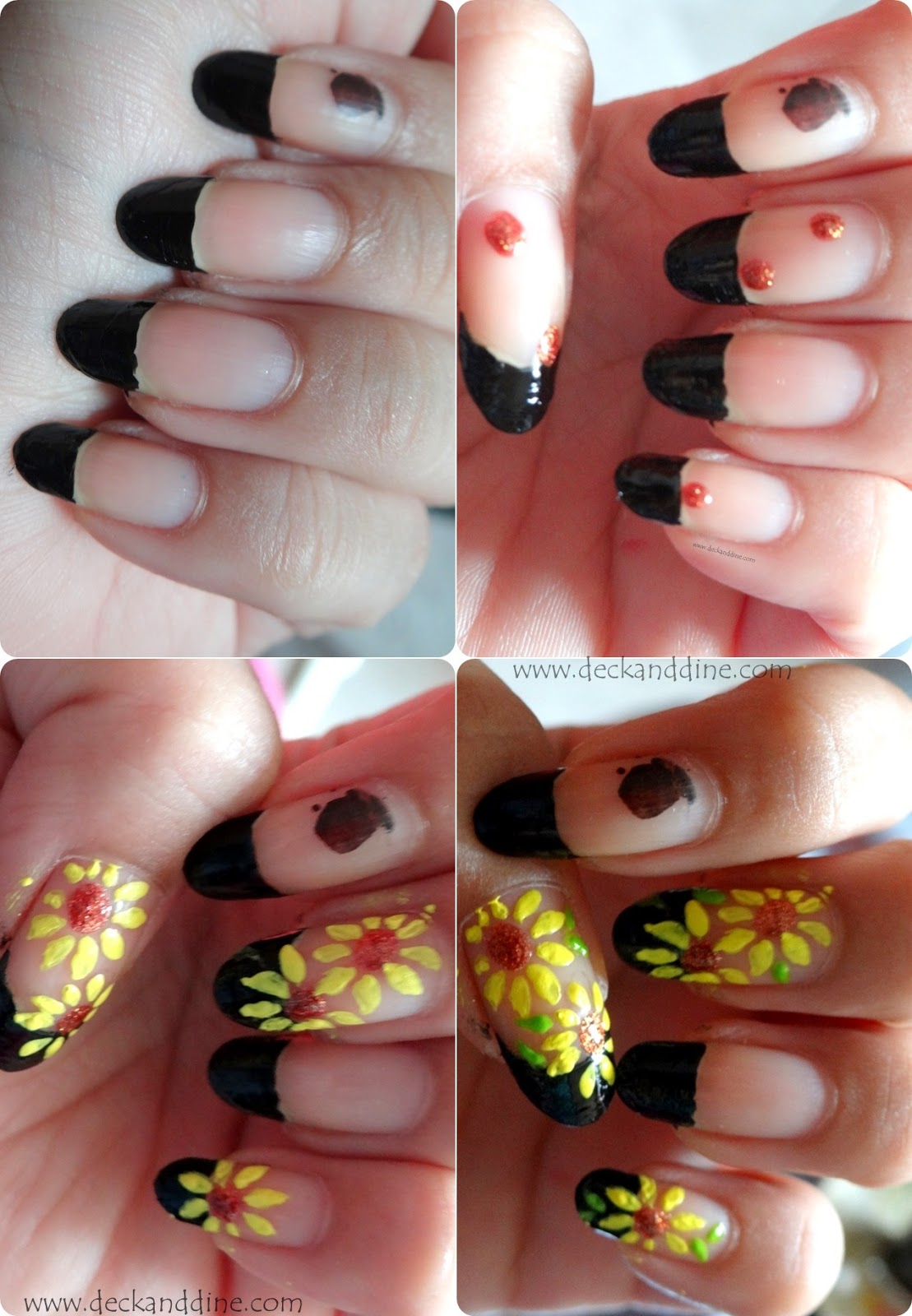 Summer Sunflower Nail Art Step-by-Step Tutorial - Deck and Dine