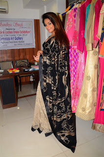 Neetu Chandra in Black Saree at Designer Sandhya Singh Store Launch Mumbai (77).jpg