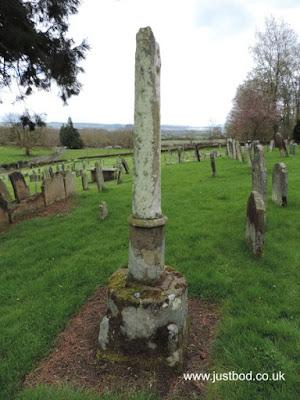 Shaft & base of 15thc. churchyard cross, Ebberston, Yorkshire