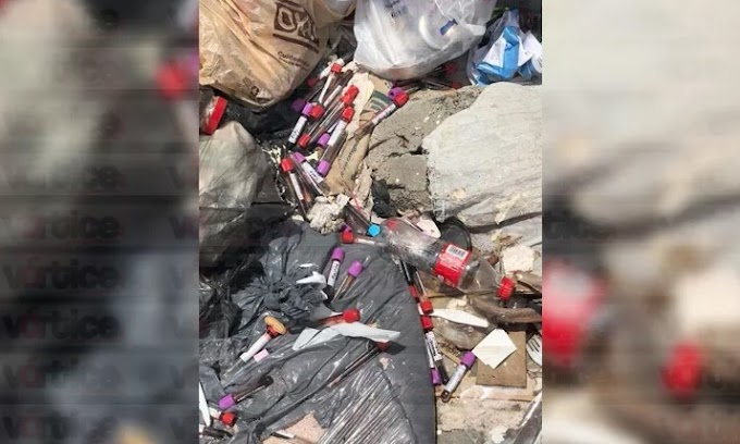 Abandonan residuos peligrosos (R.P.B.I.) en las calles de Tuxtla