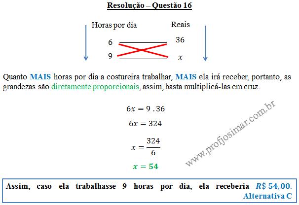 Questão 16 - Regra de três simples