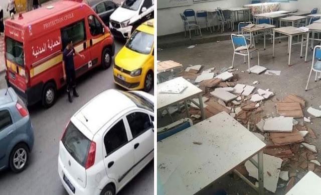 سقوط سقف قسم بمدرسة إبتدائية الكرم