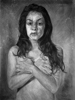 Dibujo de mujer al carbón