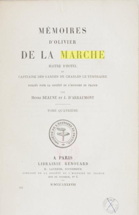 mémoires d'Olivier de La Marche