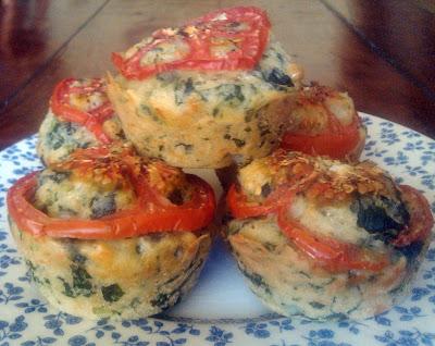 Muffins de espinacas y queso, huevos light receta ligera tomate