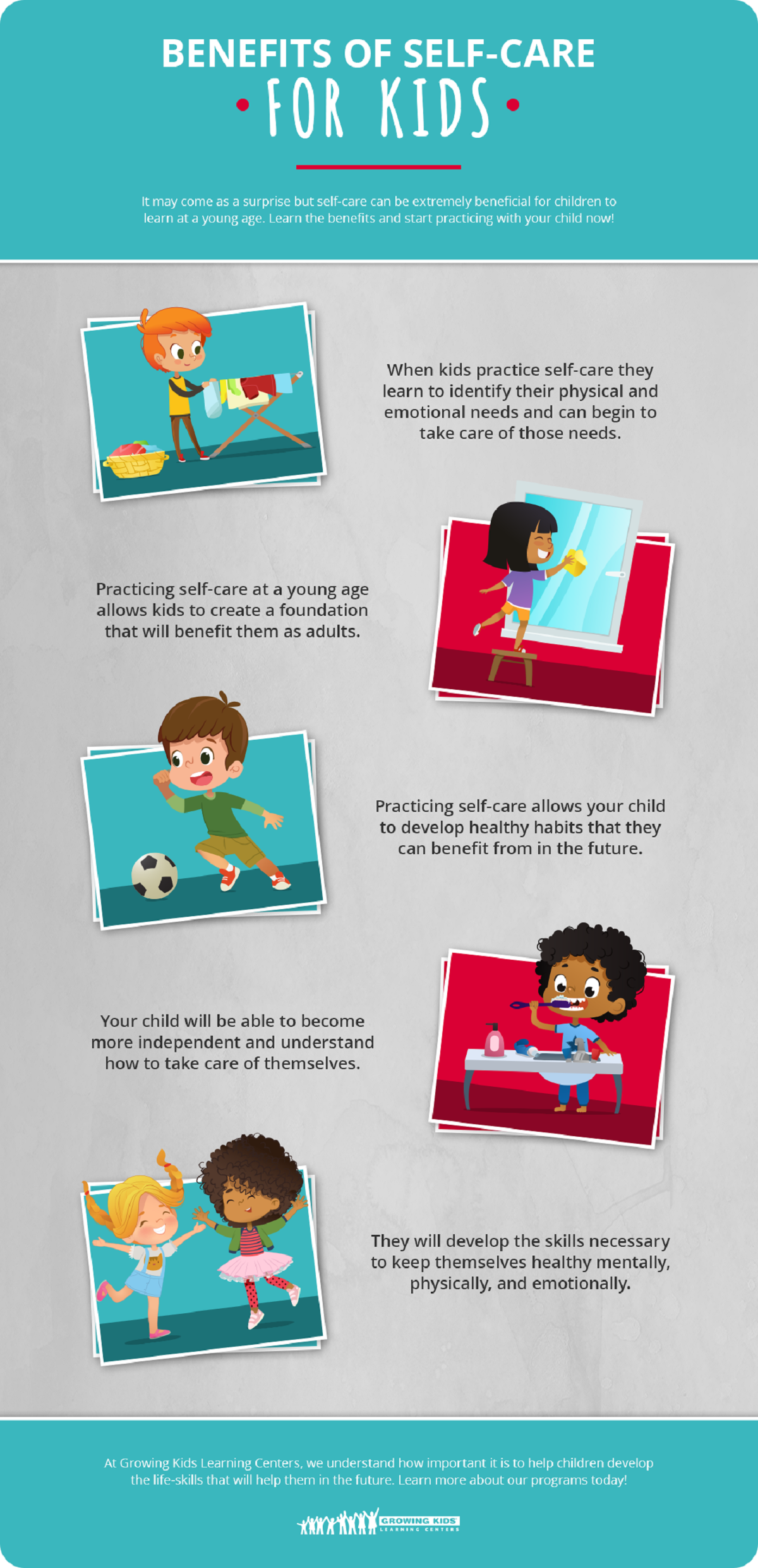 Self-care Tips for Kids #infographic