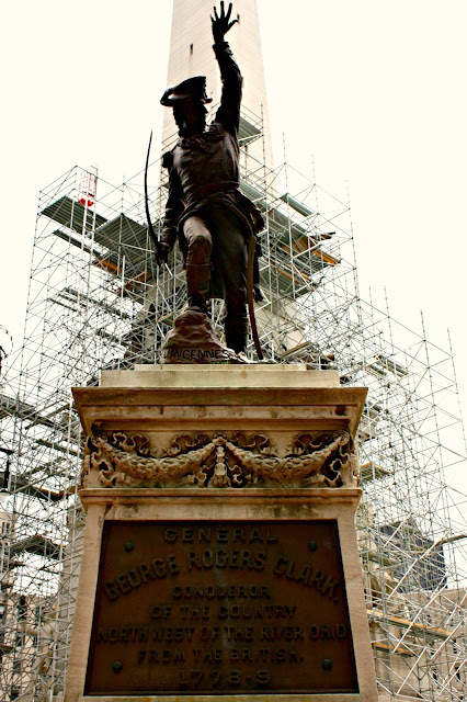 Bronze statues like this of George Rogers Clark highlight key figures.