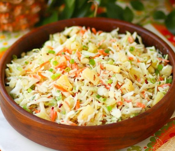 Pineapple Slaw #cabbage #vegetariandinner