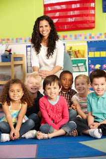 Photo of a Teacher and Her Kindergarten Students in a Classroom