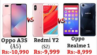 Oppo A3s versus Redmi Y2 versus RealMe 1 : Full Comparison