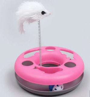 Cat Toy Bell Ball Vocal Track Game Supplies Puzzle Interactive Cat Catching Turntable - Hot Pink