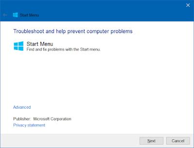 Mengatasi menu start tidak bisa dibuka di windows 10-a