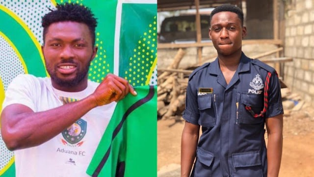Aduana Stars player Farouk Adams in the grips of the police for allegedly killing a Police Officer