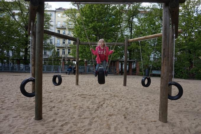 Berliinissä Arkonaplatz, todella monipuolinen leikkipaikka lapsille