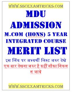 MDU UG PG Regular MCom 5-year Merit List