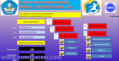 Aplikasi Pengelolaan Penilaian Kurikulum  Aplikasi Pengelolaan Penilaian Kurikulum 2013 jenjang SD Format Excel