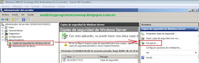 Restaurar una copia de seguridad con windows