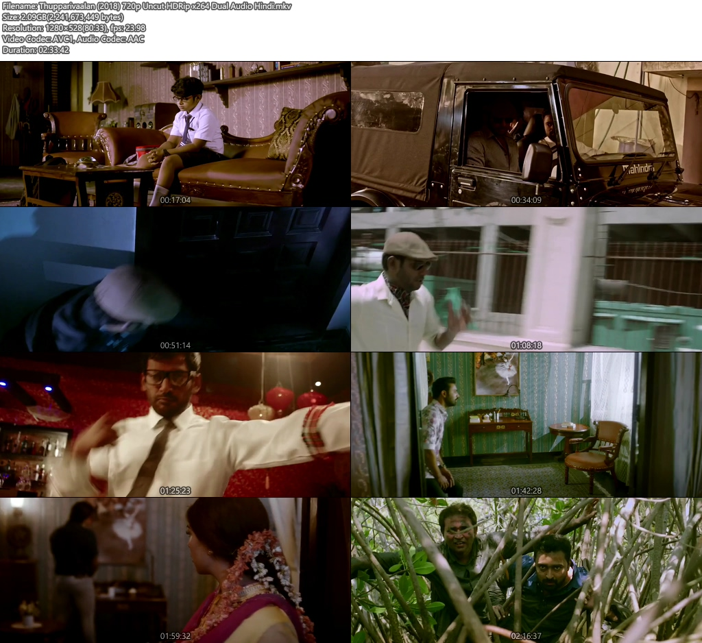 Thupparivaalan 2018 Hindi 720p Uncut HDRip x264 Dual Audio | 480p 400MB | 200MB HEVC Screenshot