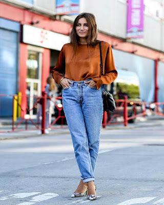 outfit hipster con jeans de tiro alto
