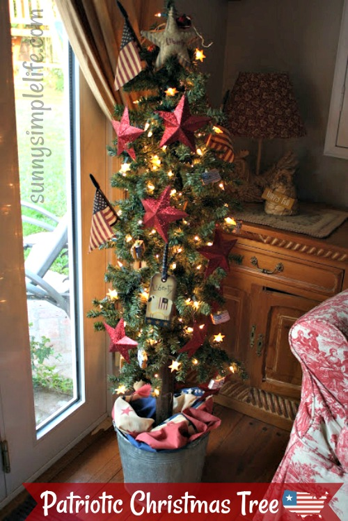 patriotic Christmas tree, country decorating