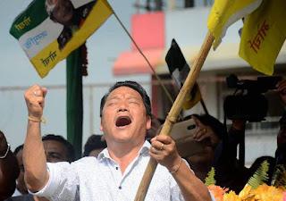 Gorkha janmukti Morcha chief Bimal Gurung celebrates victory in Darjeeling,Kalimpong,Kurseong Municipality Election