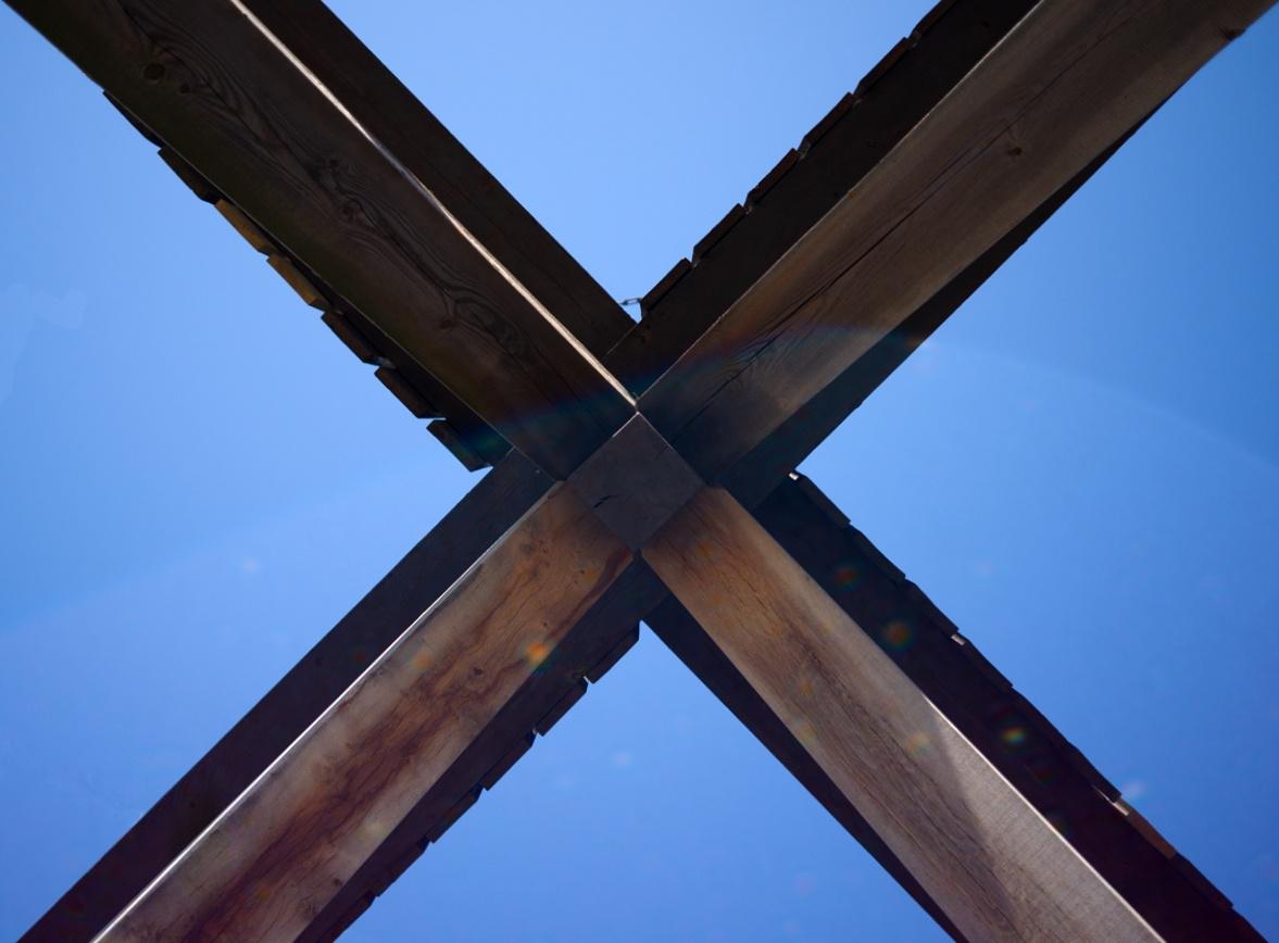 Kugelbake (CUX) von unten gesehen