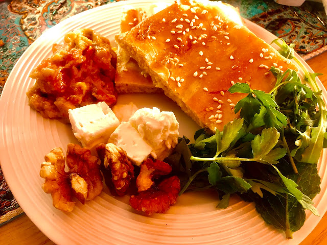 Sabzi khordan, mirza ghasemi and barbari bread
