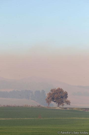Smoke from fires, a burnoff on a farm near Pukehou, Central Hawke's Bay. Pollution, no wind. photograph