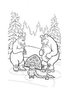דפי צביעה לילדים מאשה והדוב