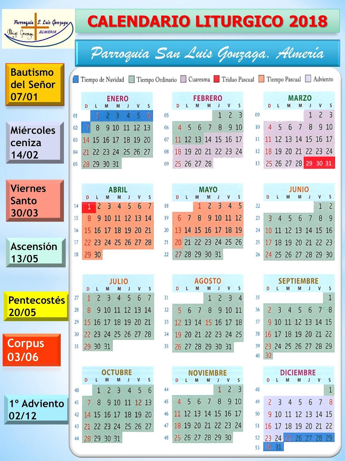 calendario liturgico 2018