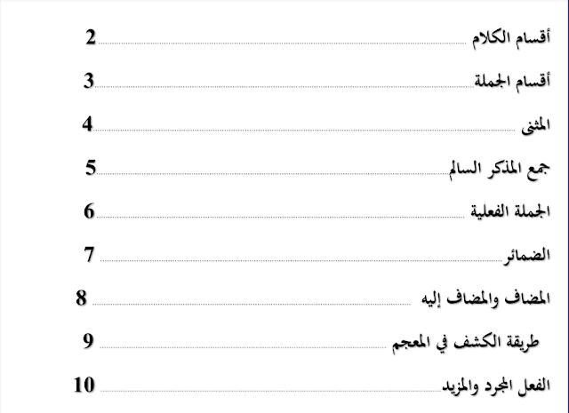 مراجعة لغة عربية صف ثامن فصل أول