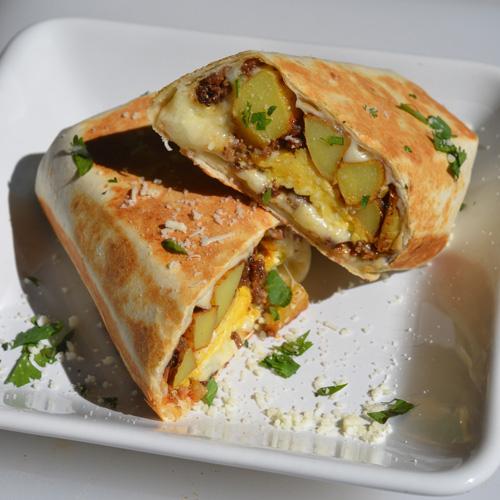 Potato, Egg, and Beef Breakfast Burrito