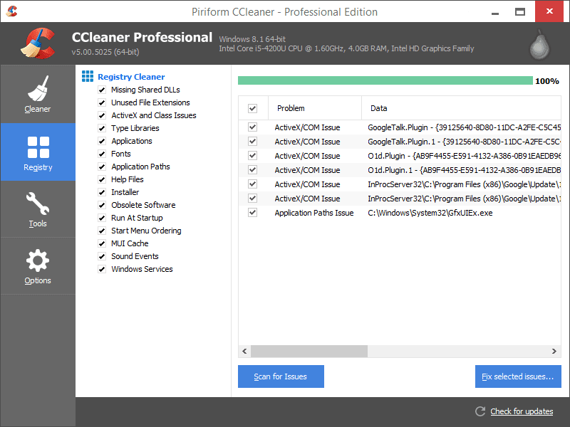Screenshot of CCleaner's Registry Cleaner Module