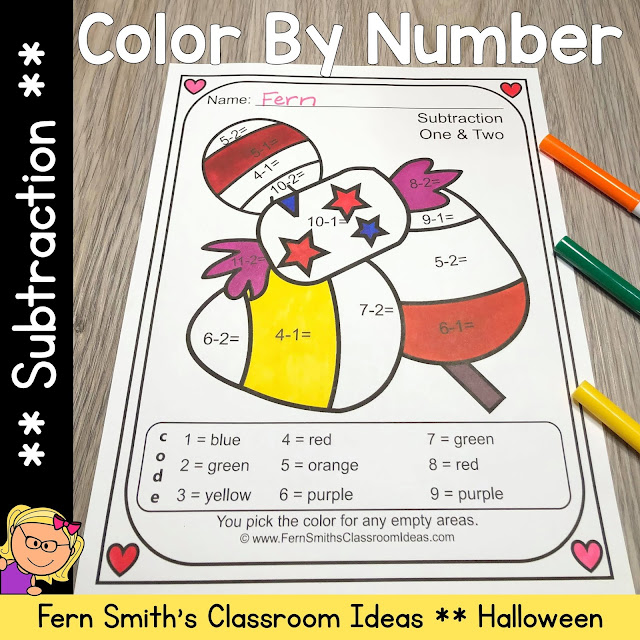 Click Here to Download this Halloween Color By Number Subtraction Printables Resource #FernSmithsClassroomIdeas