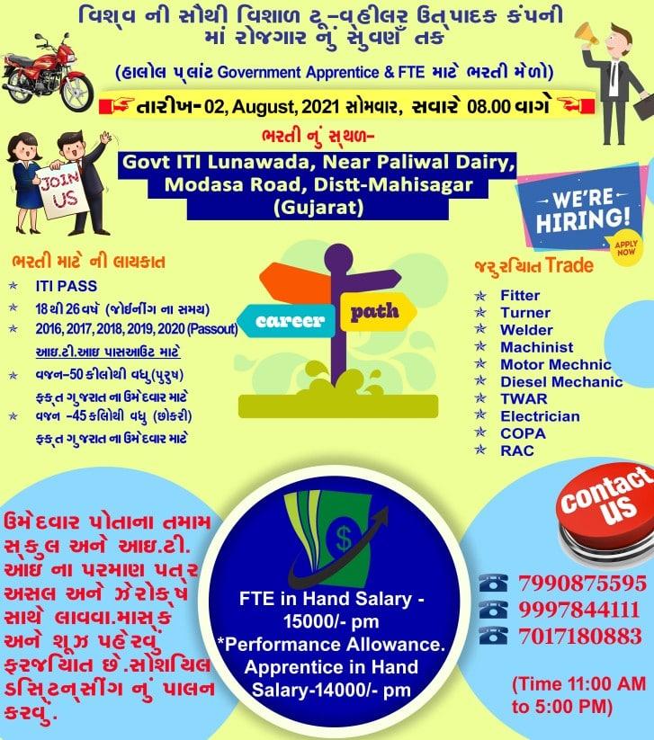 ITI Job Recruitment in Hero MotoCorp Limited Campus Placement Drive At Govt ITI Lunawada, Gujarat