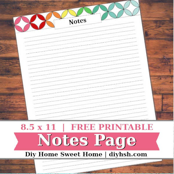graphic about Printable Notes Page referred to as Do it yourself House Cute Property: Notes - Household Handle Binder - Totally free