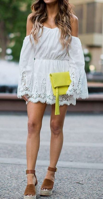 trendy summer outfit: white dress + bag