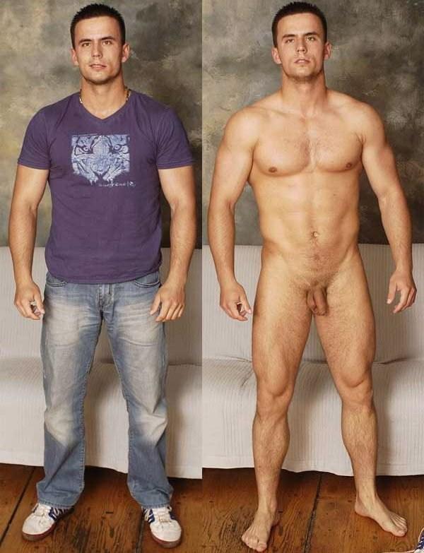 Clothed unclothed men