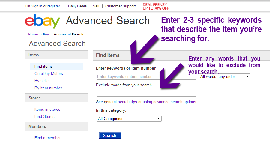 Enter Specific Key Words to Search Completed Listings on Ebay