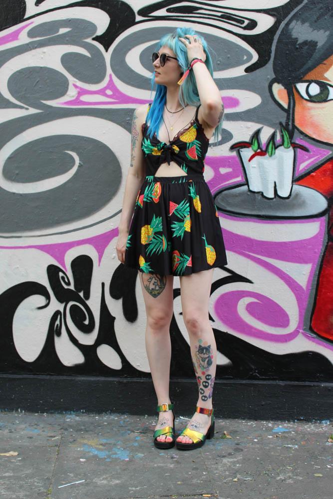 Alternative Style Blogger Foxxtailz Pull and Bear Playsuit
