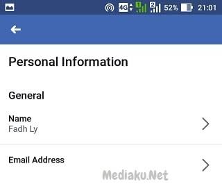 Sembunyikan Email Facebook Lewat HP