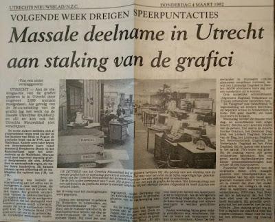 Foto van de zetterij van het Utrechts Nieuwsblad met één man aan het werk
