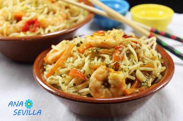 Noodles con verdura y langostinos Thermomix