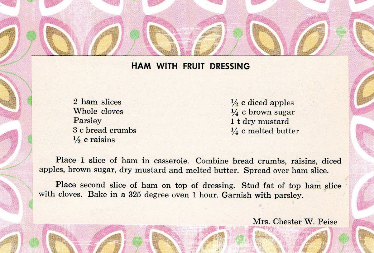 Ham with Fruit Dressing (quick recipe)