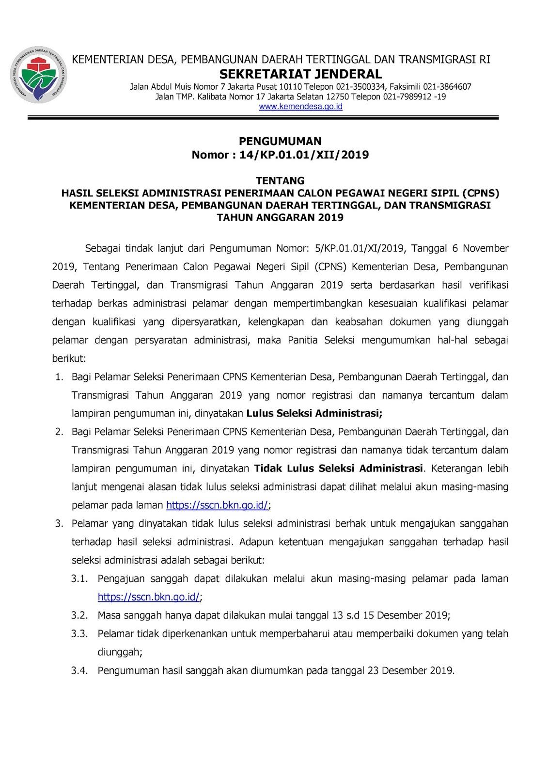Hasil Seleksi CPNS Kemendesa [Kementerian Desa, Pembangunan Daerah Tertinggal, dan Transmigrasi] Tahun Anggaran 2019