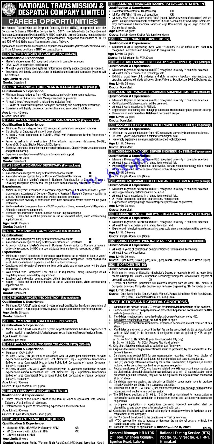 Latest New Jobs in National Transmission and Dispatch Company NTDC 2021
