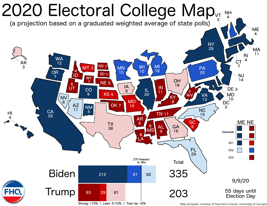 Frontloading Hq The Electoral College Map 9 9 20