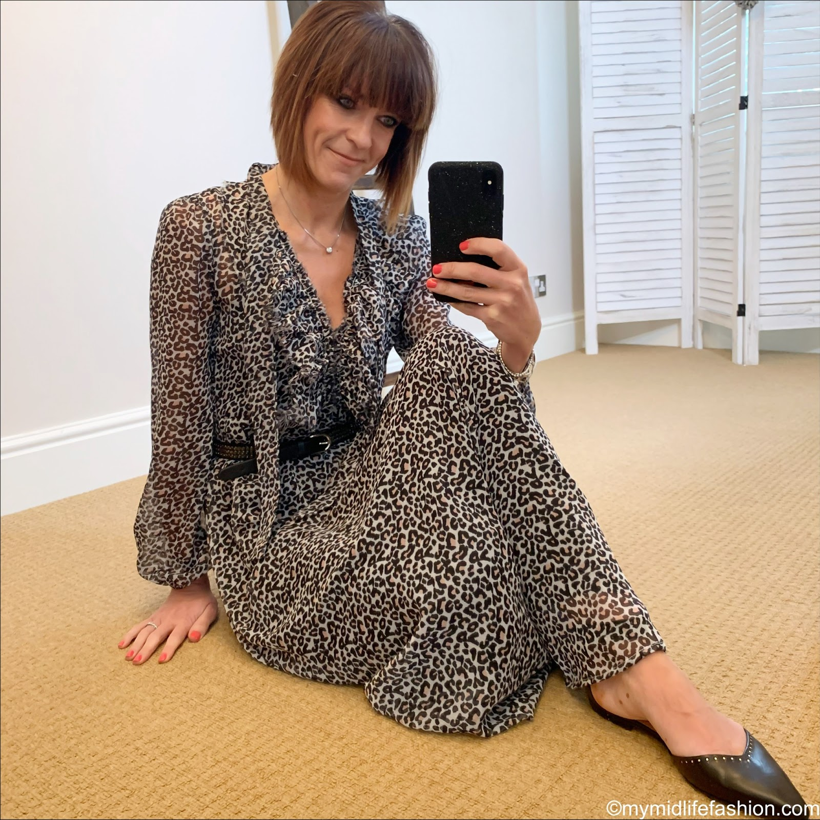my midlife fashion, Isabel Marant leather studded flat shoes, lily and Lionel leopard print ruffle maxi dress