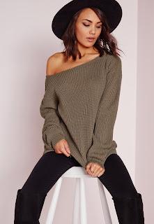 Taupe off the shoulder jumper