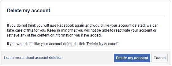 Delete Facebook Account Link